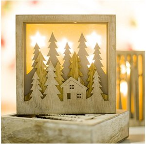 Wooden Christmas LED Lights Box Christmas Tree Elk Shape LED Light Wood DIY Crafs Pendants Ornaments Home Closet Decor