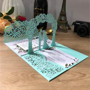 Elegant 3D Wedding Invitations Marriage Laser Cut Invite Card Hollow 2021 Personalized Insert Printing Multi Colors Folder Invitation AL8254