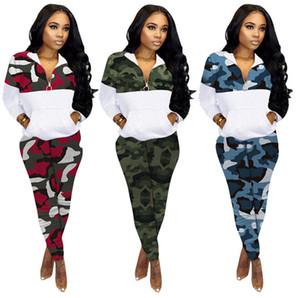 Women Tracksuit Plus Size Camouflage Long Sleeves Sweater Coat Zipper Jacket Leggings Fashion Two Piece Set Outfit Sports Suit E101407