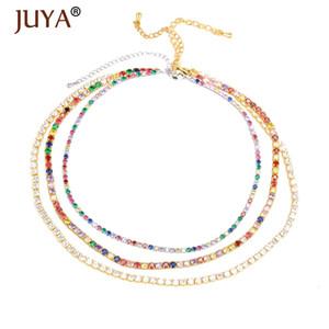 Juya Trendy Rainbow Collane Collane Collane delicata Zirconia Cubic Choker per le donne Girls Jewelry Bohemian Tennis Catena di tennis per amanti regalo