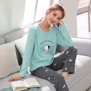 womens Pajamas Set Autumn Winter Thicken Cotton Pyjamas Women Cartoon Pijama Pattern Pajamas Set Thin Pijama Mujer Sleepwear 201009