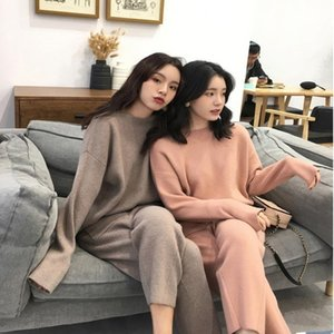RICORIT Women's T-shirt Pants Two Sets Of Fine Knitted Or Crocheted Sweaters Fashion Women's Sport Suit Sweaters Sets 201028