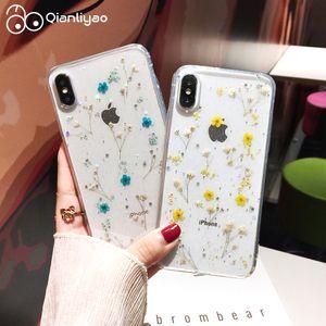 Qianliyao real Flor seco Glitter claro capa para iPhone 12 Pro Max X 7 8 Plus 6 6s Telefone Capa iphone 11 XR XS Max SE Tampa