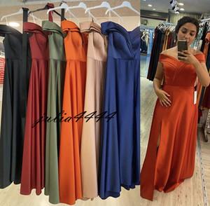 Royal Blue Dama de honor vestidos de hombro largo con sirena 2021 árabe boda formal vestidos de invitados vestido de noche hecha a medida Split