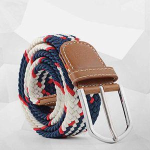Women Elastic Canvas Belts Men Braided Stretch Belt 2020 Newest Unisex Woven Elastic Stretch Belts Multi-Color Waistband