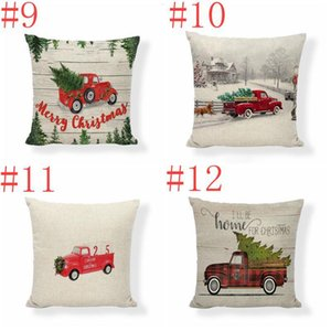 Pillow Case Christmas Pillow Covers Xmas Tree Throw Pillow Case Red Car Printing Case Sofa Couch Cushion Cover Christmas Decoration EWE2759
