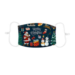 Children Washable Mouth Mask Christmas Printed Face Mask Reusable Protective Mouth Cover Earhook Mouth Muffle Mascarilla New Hot qylbaO