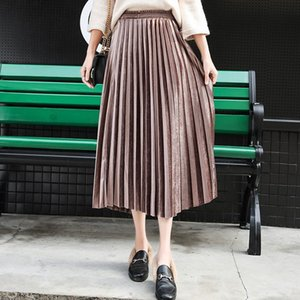 Femmes Long Metallic Silver Maxi Jupe plissée Party Automne Hiver Jupe mi-longue taille haute Elascity Casual Jupe Vintage 201111