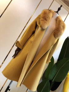 High-end women's fashion jackets Handmade double-sided cashmere coats Luxury big fox fur collar code number: SMLXL 67