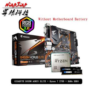 AMD Ryzen 7 R 7 2700 CPU + Г.А. B450M AORUS ЭЛИТНАЯ Материнские + Pumeitou DDR4 8G 16G 2666MHz НВЧ костюм гнездо АМ4 Без холодильника