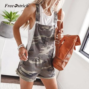Free Ostrich Women Casual Playsuits 2020 Summer O Neck Sleeveless Jumpsuit Printed Romper Short Overalls