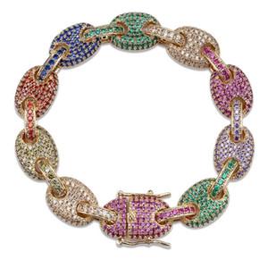 Topgrillz 12mm arco-íris cubano link pulseira gelado fora dos homens hip hop jóias de jóias material de cobre ouro prata cor bracelete Y1218