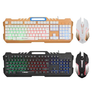 LED Light Mechanical Feel Gaming Keyboard and Wired Mouse Combo Set for Computer PC