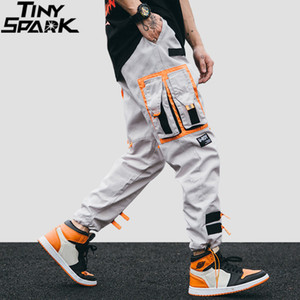 Hip Hip Cargo Pants Streetwear Men Harajuku Harem Pants Joggers Casual Tatical Pants Ribbon Multi Pockets Track Trousers 201116