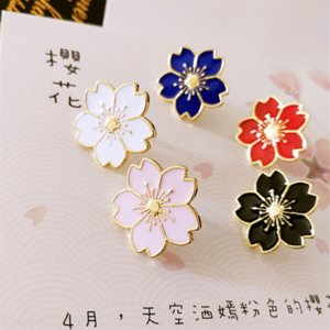 Elooq rozeti ve rüzgar kız kiraz çiçeği broş güzel kiraz çiçeği üniforma yaka metal çiçek damlayan yağı broş rozeti