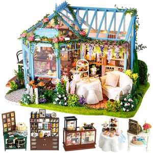 CUTEBEE DIY Dollhouse Wooden doll Houses Miniature Doll House Furniture Kit Casa Music Led Toys for Children Birthday Gift A68B LJ200909