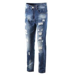 Trou Mode Hommes Designer Jeans Pantalons solide Pantalons simple Denim droites Été Hiver Vêtements pour hommes Taille plus