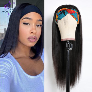 Modern Show Peruvian Straight Human Hair Wigs Headband Machine Made Human Hair Wigs For Black Women 150% Density Remy