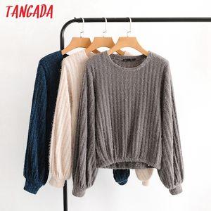 Tangada 2020 mulheres outono fleece camisola o pescoço solto manga longa malha jumper de cobre 8H5