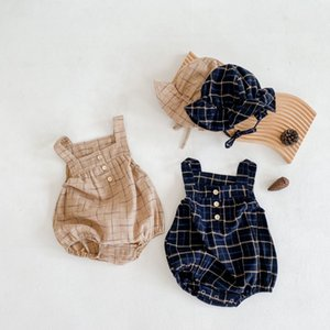 Boy Newborn Plaid Baby Costume Autumn Infant Clothes Girls Romper With Hat Toddler Jumpsuit Q1113