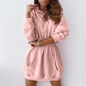 Frauen Maxi-Pullover Kleid Herbst Warm Maxi-Langarm-Sweatshirt beiläufige Taschen-Hoodies Kleider Plus Size