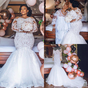 Africa Plus Size Wedding Dresses Long Sleeves Beaded Lace Appliques Mermaid Bridal Gowns Custom Made robes de mariée