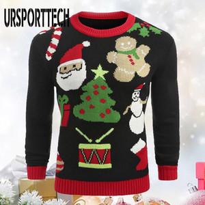 URSPORTTECH Camisola feia do Natal Homens Pullover Slim Fit Jumper Malhas outono morno camisola do Natal de Santa Casual Men Roupa