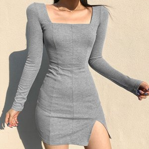 Sexy square European color 2021 dress slim bag hip neck new women's split and American women's clothing in solid spring Hnjlk