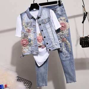 Denim Jeans Pants Set Women Two Piece Sets Spring Autumn New Studded Beaded Embroidered Vest Jeans Suit Waistcoat and Jeans 201009