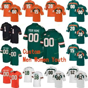 Personalizado Miami Hurricanes College Football Jersey 5 N'Kosi Perry 52 Ray Lewis 55 Shaquille Quarterman 6 Mark Pope Hombres Mujeres Jóvenes cosido