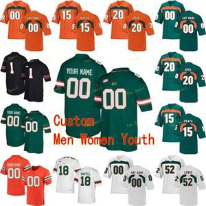 Custom Miami Hurricanes College Football Jersey 5 N'kosi Perry 52 Ray Lewis 55 Shaquille Quartman 6 Марк Папа Мужчины Женщины Молодежь сшиты