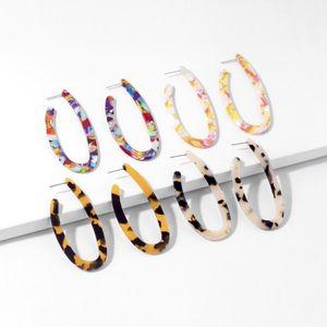 Fashion Personality Acrylic Unusual Earrings For Women Leopard Print Acetic Acid Circle Earing Bohemian Colorful Women's Earring1