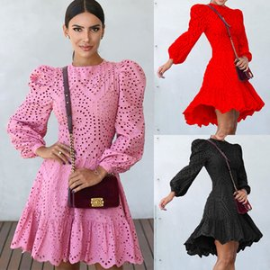Womens Sexy Slim Casual Dresses Autumn Elegant Solid O-Neck Full Puffy Sleeves Mini Dress Fashion Skinny Hollow Out Dresses With Ruffles