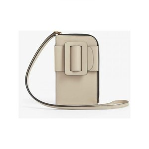 Buckle Decoration Leather Hanging Neck Mobile Phone Bag Ladies Slung Crossbody Bag Mini Cow Leather Women Card Wrist