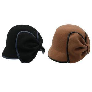 Laine de femmes Fedora Hat Décorée Bow Tie Fedora Femme Beret chapeau de pêcheur