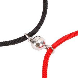 2 piezas de pareja pulseras imanes atraen mutuamente amante amistad regalo pulsera hombres y mujeres encanto pulsera joyería yys3917
