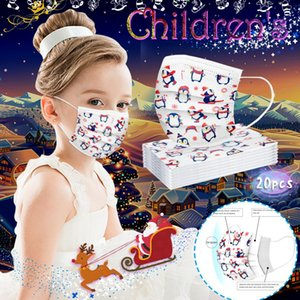 25 10 20 Pcs Christmas Face Mask For Children Disposable Non Woven Mouth Mask High Quality 3ply Breathing Kids Boys Girls Mask yxlBOo