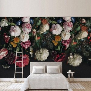 Personalizza Qualsiasi dimensione 3D wall murale wallpaper pittura stile rurale retrò dipinto a mano fiori floreali floreale soggiorno divano camera da letto arredamento cjje #
