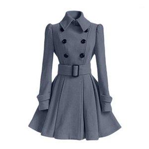 2018 autunno inverno donne soprabito sottile a-line shash solido con scollo a doppio petto con scollo a doppio petto di luna moda Trench coat outwears1