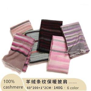 NAIZAIGA 100% Cashmere Striped Winter Fashion Warm Fashion Scarf Ladies Gril Shawl, PS2061