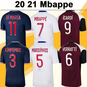 20 21 MBAPPE ICARDI Camisas de futebol masculino DI MARIA VERRATTI Camisa de futebol 3RD Home Away Novo KIMPEMBE DRAXLER Uniformes Maillots de Foot