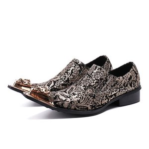 Hot Metal Toe Leather Wedding Dress Shoes Men Flats Slip On Espadrilles Customized Shoes Plus Size 38-46