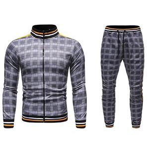 Männer Sweatsoits 2021 Casual Plaid Muster Herren Trainingsanzüge Alle Saisonjacke + Joggers Laufende Oberbekleidung Herren Outfits Mode-Sets