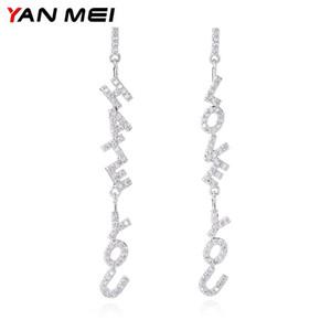 YANMEI CZ Letter Dangle Earrings For Women Initial Long Earring Alphabet Fashion Jewelry YME8053