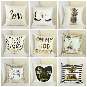 Flannel Bronzing Pillow Case Letter Heart Printing Pillow Covers Sofa Cushions Cover Car Pillowcase Home Decor 17 Styles Yw453