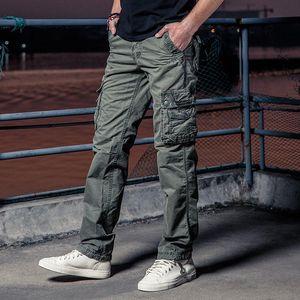 새로운 남성 카고 바지 솔리드 카키 통기성 여름 대형 멀티 포켓 긴 바지 HOT 판매 접합 Pantalon 옴므