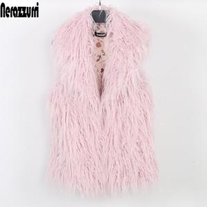 Nerazzurri Faux delle donne della maglia più corta di colore rosa autunno Falso Fur Coat 2020 Pelosa Large Size maniche Giacca 5XL 6XL 7XL 8XL
