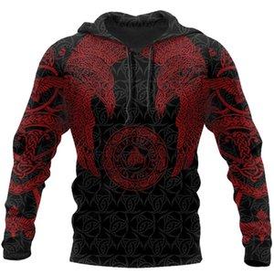 Drop shipping Viking Munin - Tattoo Style Hoodie Harajuku Fashion Hooded Sweatshirt Autumn Unisex hoodie sudadera hombre 201022