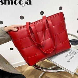 SMOOZA Ladies épaule en cuir Sacs à main 2020 nouvelle mode grande capacité solide de luxe Tissé Designer Sacs Femme