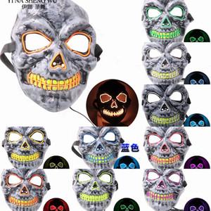 Halloween 10 colores Máscara Led Esqueleto El rimel del partido del traje Dj Light Up brillan en la oscuridad Máscaras punky de la manera de Cosplay a la venta de la fábrica DIBK